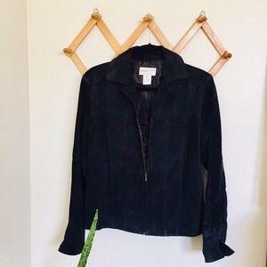 PENDELTON Leather Suede Box Cut Zip Jacket Black M